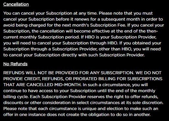 HBO Now and its No Return, No Refund Policy