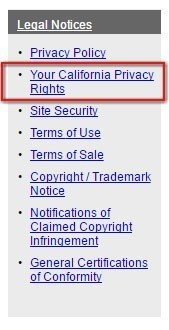 Screenshot of the Legal Notices page of Jostens