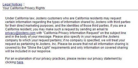 Screenshot of the Your California Privacy Rights page of Jostens