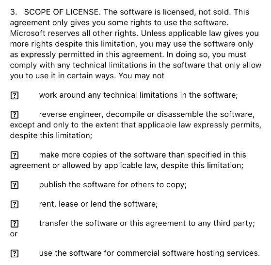 The Scope of License clause from Microsoft Office 365 EULA