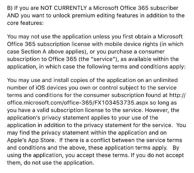 EULA of Office 365: Must be subscriber or sign-up