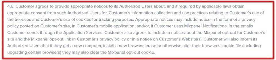 Clause in Mixpanel Terms of Use: Customer agrees