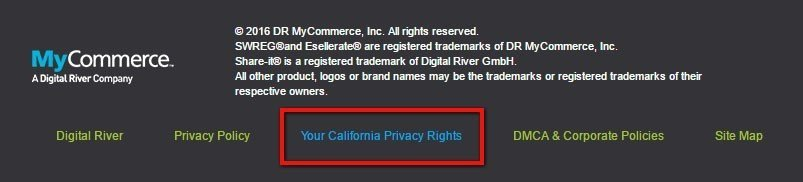 Highlight California Privacy Rights link in MyCommerce footer