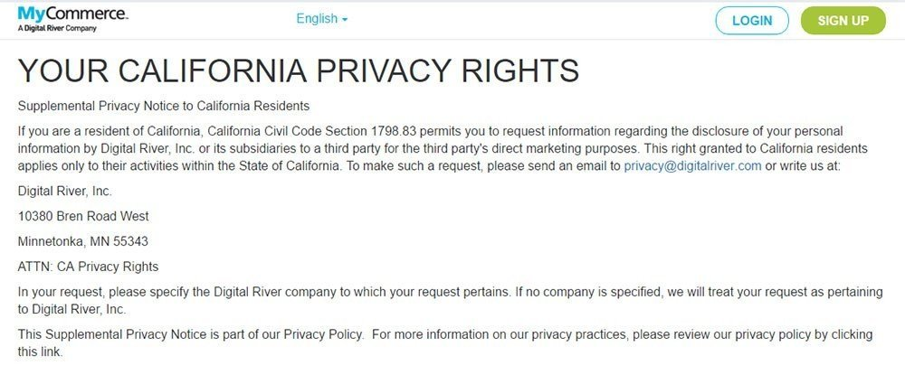 Screenshot of California Privacy Rights page of MyCommerce