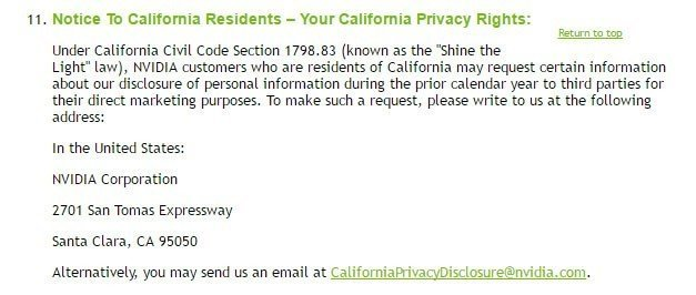 Screenshot of Section 11, Notice to California Residents, from NVIDIA