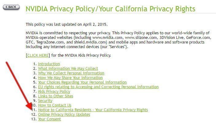 Table of Contents of Privacy Policy of NVIDIA highlighting Section 11