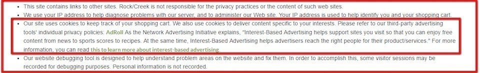 Link to AdRoll in Rock Creek Privacy Policy