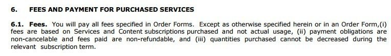 The Fees and Payment clause in MSA agreement of SalesForce