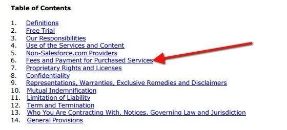 Table of Contents from MSA agreement of SalesForce