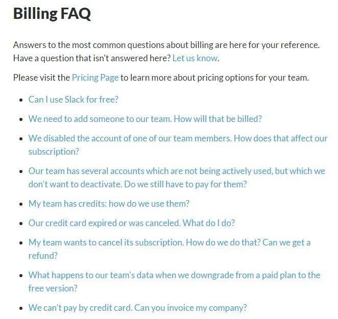 Screenshot of the Billing FAQ page from Slack