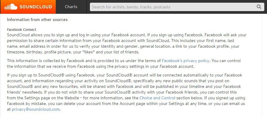 Information from other sources in SoundCloud policy