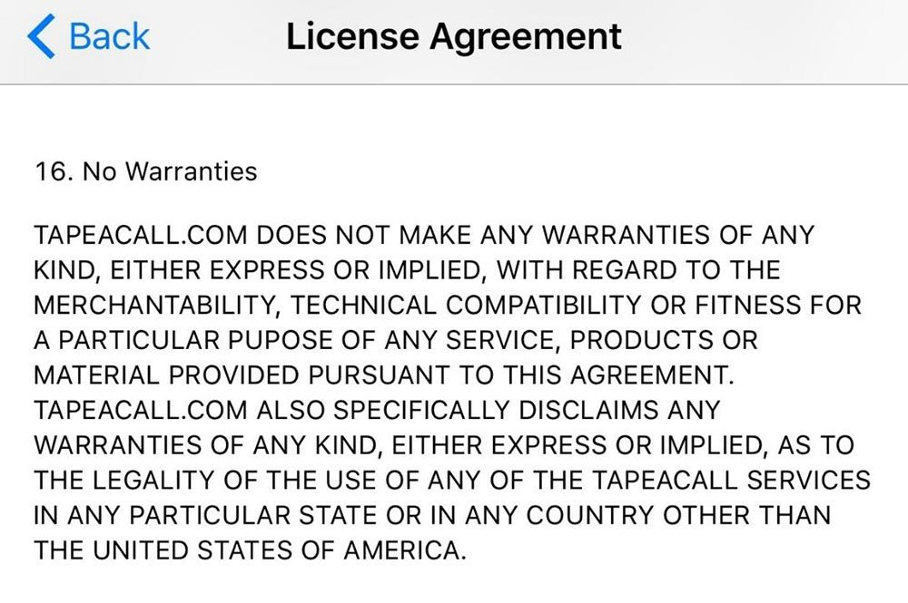 TapeACall does not claim to understand recording laws outside the U.S.