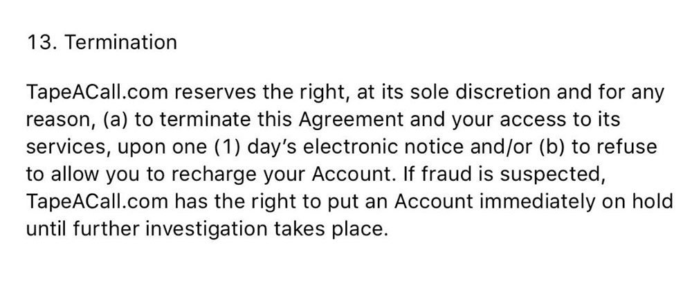 The Termination clause from TapeACall EULA
