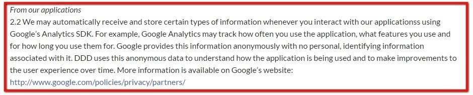 Privacy Policy of TriDef informs users of Google Analytics SDK