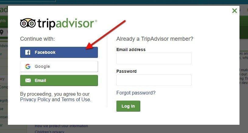 TripAdvisor: Signup for Facebook, Google or Email