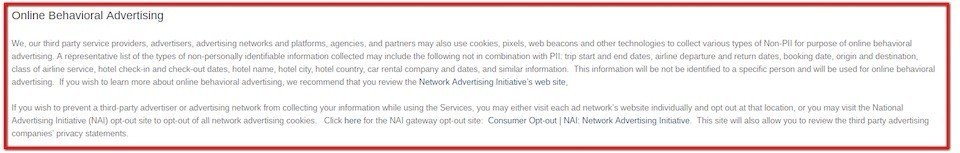 Opt-out of Online Behavioral Advertising in Tripcase