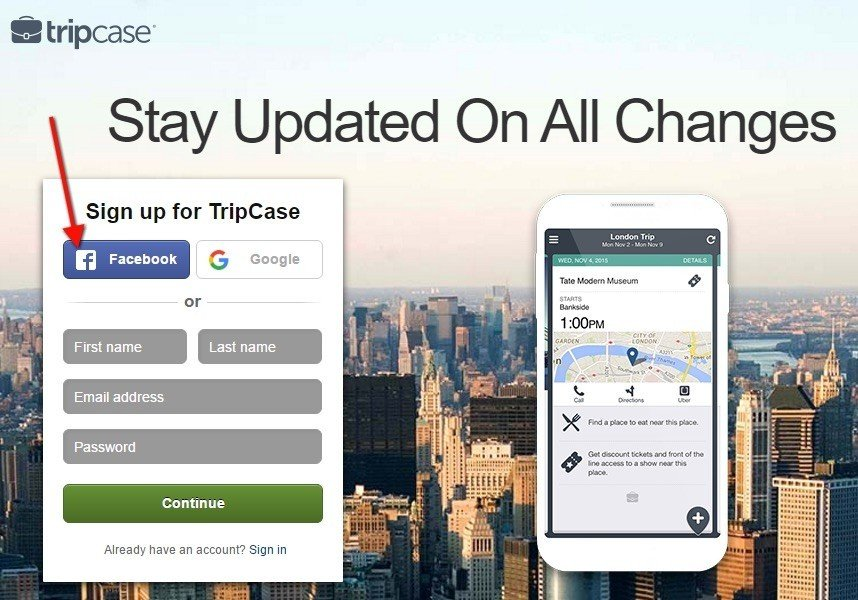 Tripcase: Signup with Facebook, Google or Email