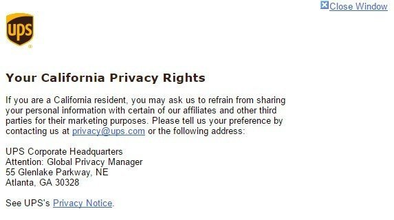 Screenshot of Your California Privacy Rights modal window