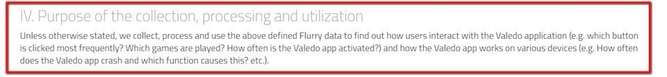 Purpose of collection of Flurry data by Valedo