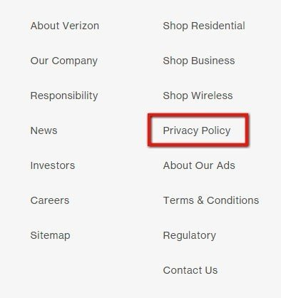 Footer of Verizon website: Highlight where the Privacy Policy link is