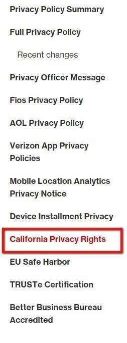 Verizon Privacy Policy: Highlight California Privacy Rights section