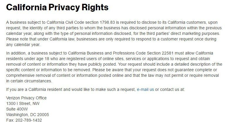Screenshot of California Privacy Rights page of Verizon