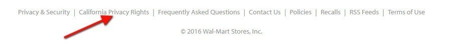 Footer of Walmart website: Highlight where California Privacy Rights link is