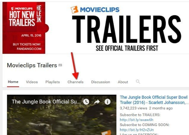 Movieclips from YouTube: The Channels link