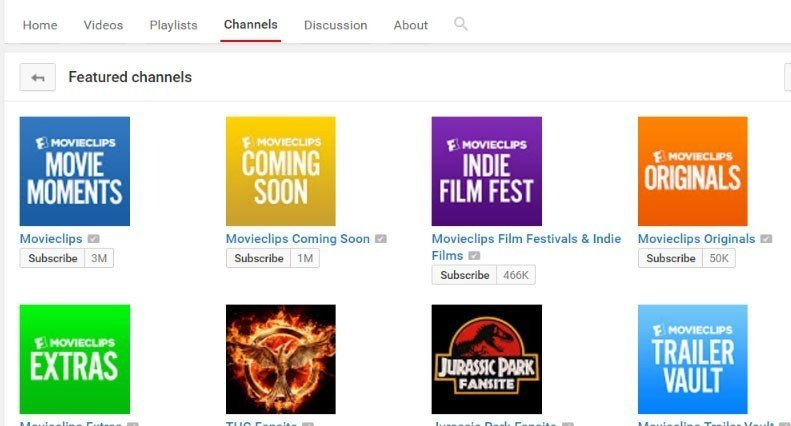 Screenshot of all channels from Movieclip on YouTube