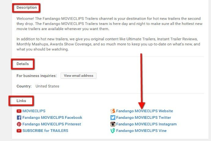 Highlight Description, Details and Links sections on Movieclips channel