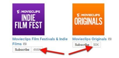 Subscribe to a Movieclips channel as a YouTube user