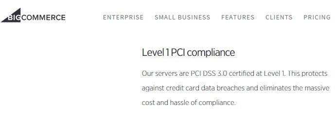 The Level 1 PCI Compliance benefit from Bigcommerce