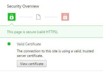 The Security Overview message from Chrome browser