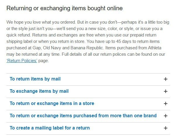 Gap policy on return and exchanging items