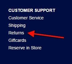 The Returns page linked from Gap website footer