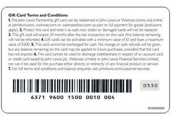 Gift Card Terms and Conditions of John Lewis