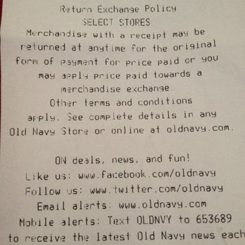 The Return Exchange Policy is printed by OldNavy
