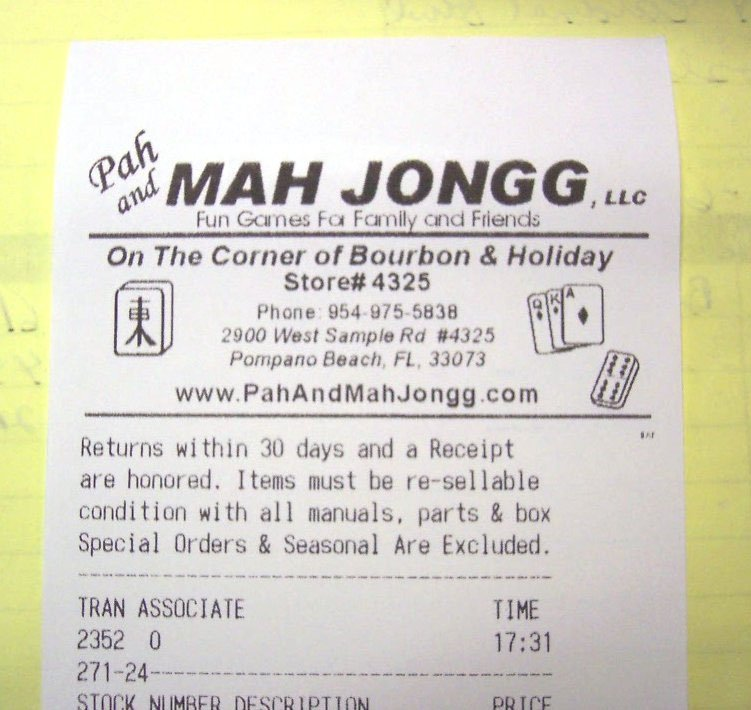 The Return Policy of Pah Mah Jongg on a printed receipt