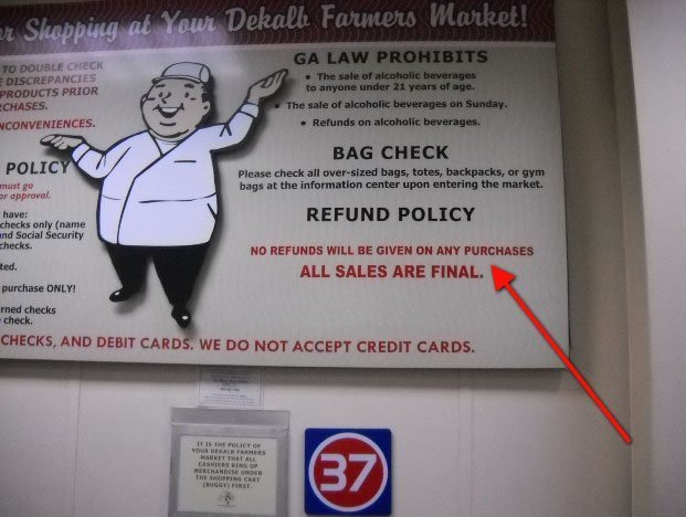 Example of Return Policy with Sales Final on a printed banner