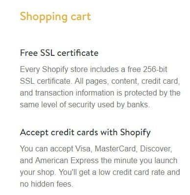 The Free SSL Certificate benefit from Shopifiy