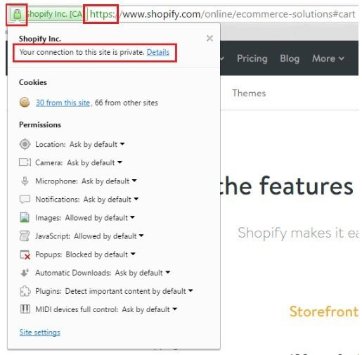 Click on padlock of Shopify SSL certificate