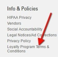 Link to Loyalty Program Terms and Conditions on Shopko