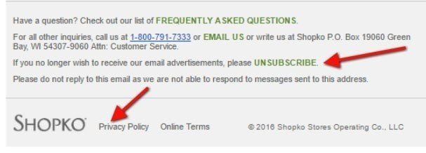 How the Shopko email newsletter links to Privacy Policy at bottom
