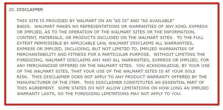 Walmart Terms of Use: Warranty Disclaimer, section 20