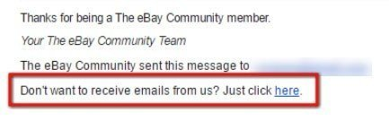 eBay: Do not want to receive emails