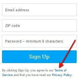 GoldStar version of clickwrap: By sign-up, you agree to Terms of Service and Privacy Policy