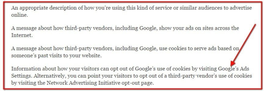 The requirements on Opt-out Policy from Google AdWords.