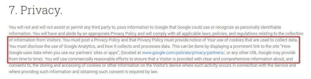 Requirements of Opt-out Policy from Google Analytics