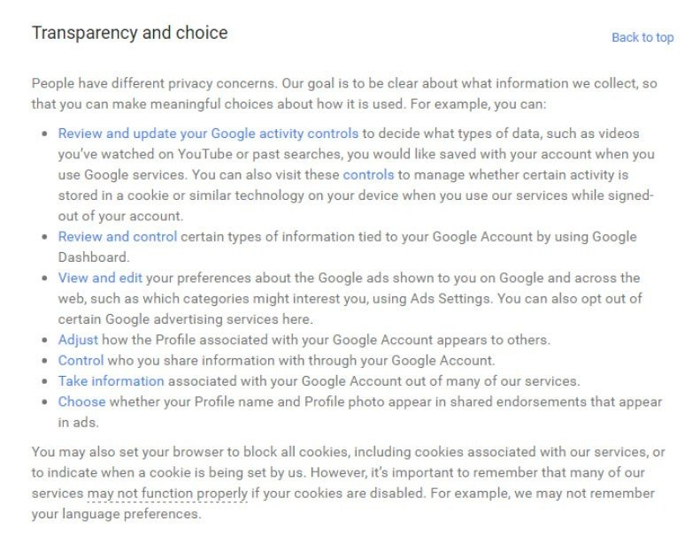 Opt-out method in Google Transparency and Choice section