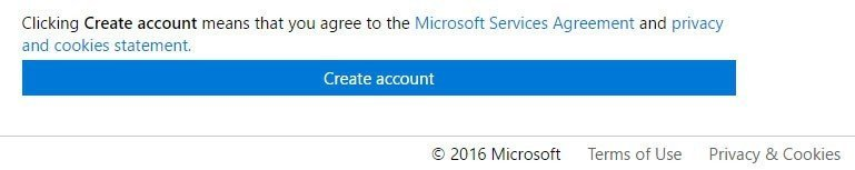 Microsoft version of clickwrap: Create account and agree to Services, Privacy and Cookies Statement